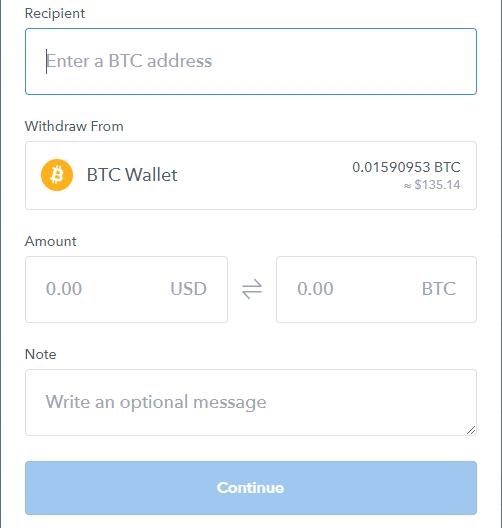 coinbase depozit minim btc